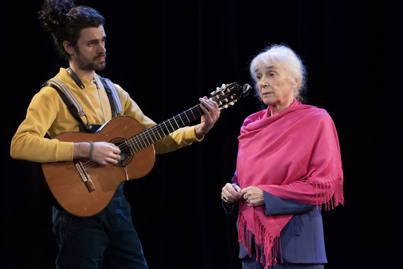 A scene of SAVANNAH BAY written by Marguerite Duras, directed by Christophe Thiry with Michele Simonnet and Ronan Richard-Kobel in Paris at the Theatre du Lucernaire on january 29, 2019. Une scene de SAVANNAH BAY texte de Marguerite Duras, mise en scene de Christophe Thiry avec Michele Simonnet et Ronan Richard-Kobel a Paris au Theatre du Lucernaire le 29 janvier 2019.